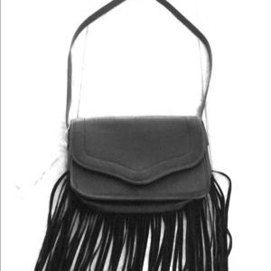 Black purse with strips
